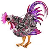 WJXBDN New Year Gifts Animal Brooches for Women Fashion Brooch Jewelry Trendy Big Rooster Brooch Mix Color Crystal Rhinestone Brooches