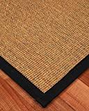 NaturalAreaRugs Sorrento Sisal Rug, Black Cotton Border, Eco-Friendly, 12' x 15'