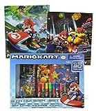 Super Mario Brothers School Supplies Kit Includes Mario Markers, Pencil Pouch, Note Pad, Eraser, Stickers, Pencil Sharpener & No. 2 Pencil! Plus Bonus MarioKart Folders!