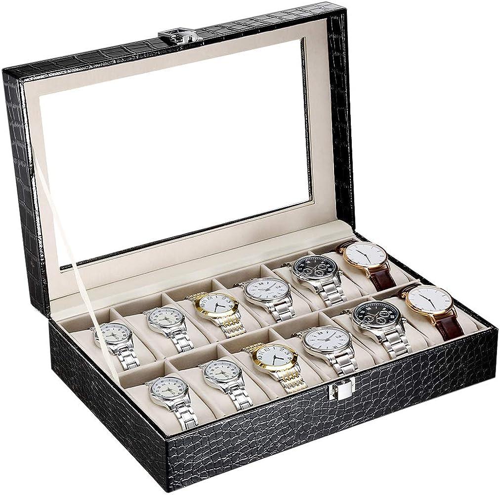 CRITIRON 12 Slot Caja para Relojes, Piel de Cocodrilo, Estuche para Relojes para Hombres, Caja para Relojes y Joyas: Amazon.es: Relojes