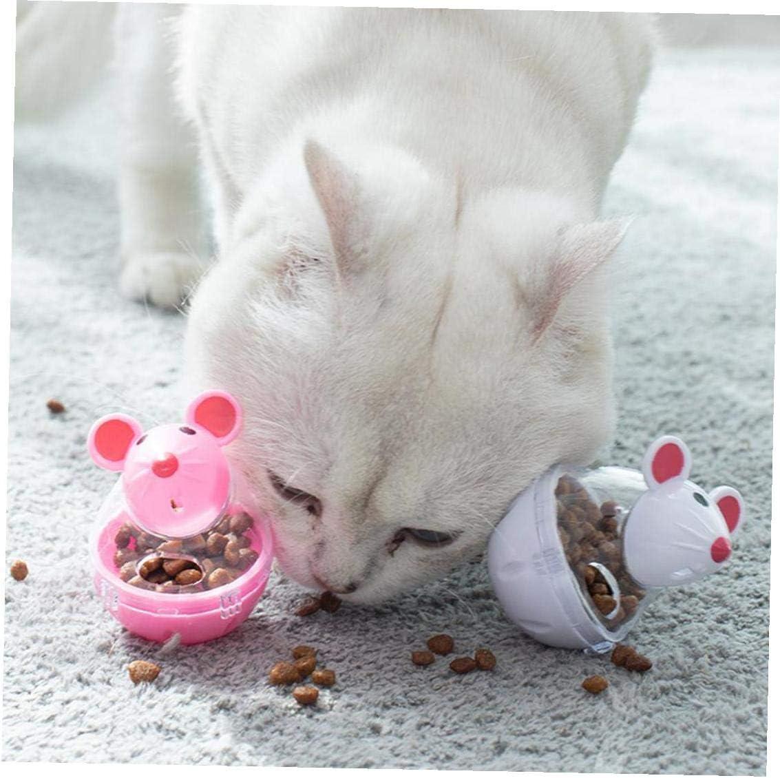 Screst Bola del Rat/ón del Perro Triturador Blanco Dise/ño Interactivo De Capacitaci/ón Iq Juguete para Mascotas Thumbler Comida para Gatos Bola Dispensador