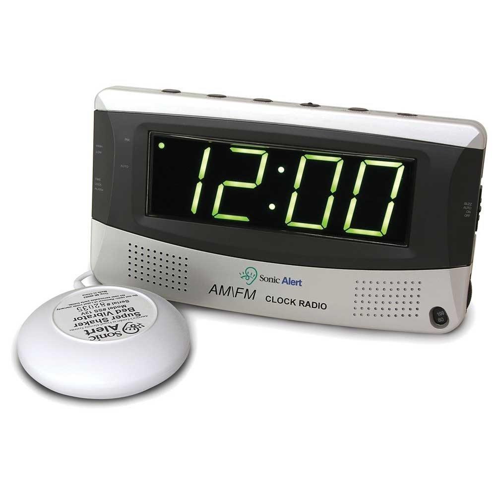 Sonic Boom Vibrating Radio Alarm Clock with AM/FM Radio & Powerful Super Vibrating Unit, Features Snooze, Extra Loud Pulsating Audio Alarm and Battery Backup Sonic Alert AX-AY-ABHI-73415