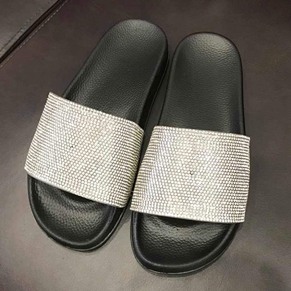 Womens Ladies Flat Slides Sandals Diamante Sparkly Sliders Slippers Shoes CR