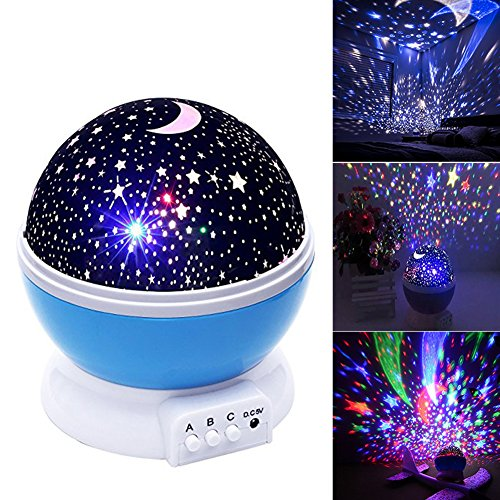 Baby Night Light Moon Star Projector 360 Degree Rotation,Romantic Starry Night Light Lamp Projection for Women Children Kids Bedroom Decor (Blue)