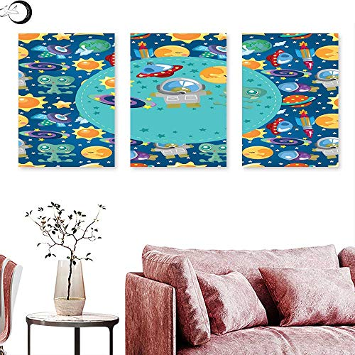 (J Chief Sky Kids Party Wall hangings Colorful Cartoon Space Themed Star Filled Background with Aliens and Astronaut Triptych Art Multicolor Triptych Art Canvas W 12