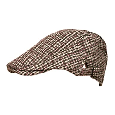 7d5cd589 TOSKATOK Mens Tweed Flat Cap with adjustable sizing strap BEIGE CHECK