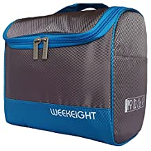 Portable Hanging Bathroom Travel Toiletry Bag for Adult & Child- Bright Colours- Soft Waterproof Polyester Farbic (Grey & Light Blue)