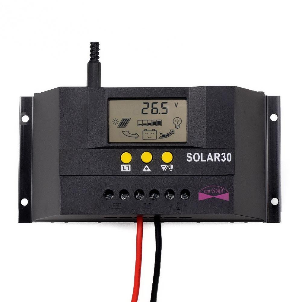 Sun YOBA 30 Amp PWM Solar Charge Controller 12V 24V Auto Switch with LCD Display H9193