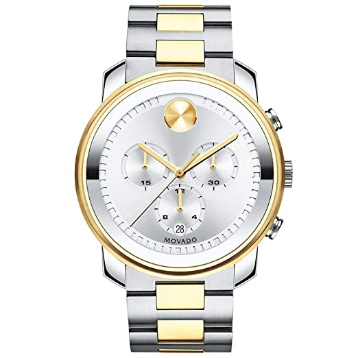 0b2ec5665 Movado Men's Bold 44mm Two Tone Steel Bracelet Swiss Quartz Watch 3600432:  Amazon.co.uk: Watches