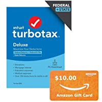 TurboTax Deluxe 2020 Federal + State PC Digital w/$10 Amazon GC Deals