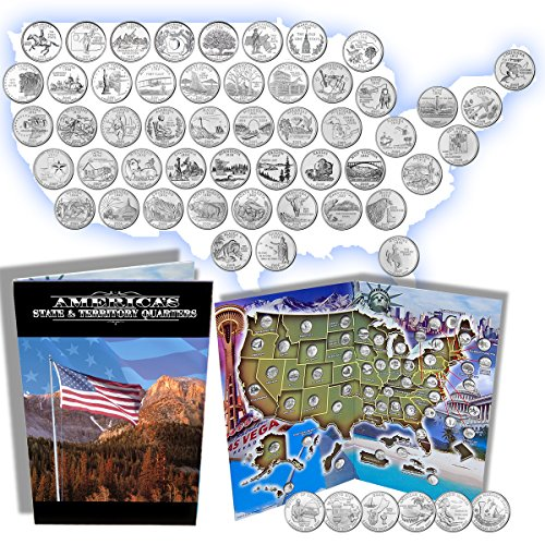 Complete 50 Uncirculated State (99-08) Quarter Collection Set + 6 territory quarters from the US Territories Program in a Beautiful Folder Display Book (Complete Set) ()