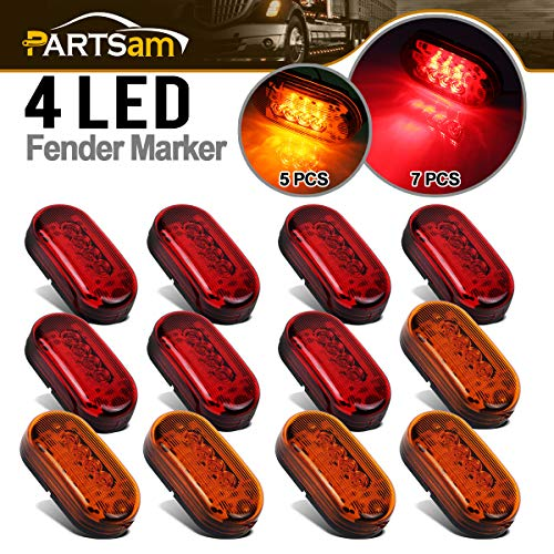 - Partsam 12x 4 Inch Oblong Led Marker Lights 10 Diodes Black Base 4