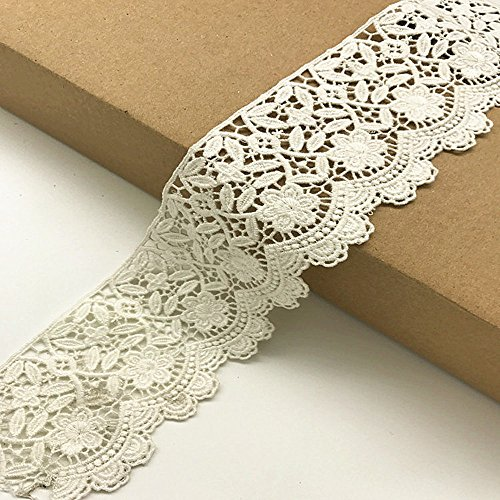 6CM Width Europe Flower Pattern Inelastic Embroidery Trims,Curtain Tablecloth Slipcover Bridal DIY Clothing/Accessories.(4 Yards in one Package)(White)