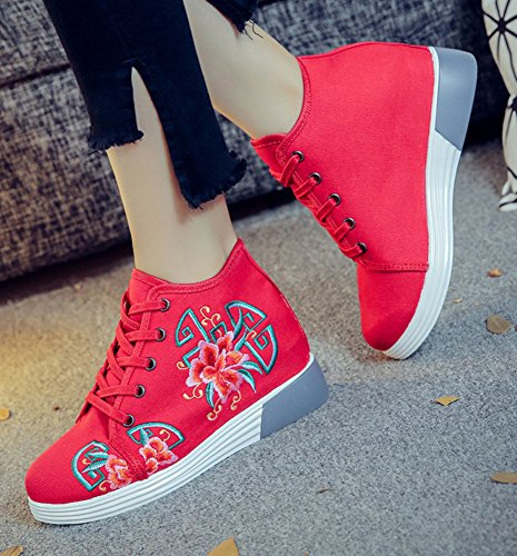 Retro Embroidery Red Womens Retro Shoes Fashion Flat AvaCostume Womens AvaCostume Embroidery 7qwx5f7Ar