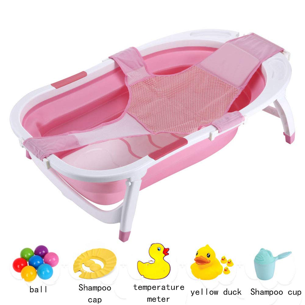 Portable Infant Bath Tub, Foldable Non Slip Safe Sturdy Non Toxic Portable Features Send The Ball Shampoo Cap Temperature Card Yellow Shampoo Cup,Pink by YQZ