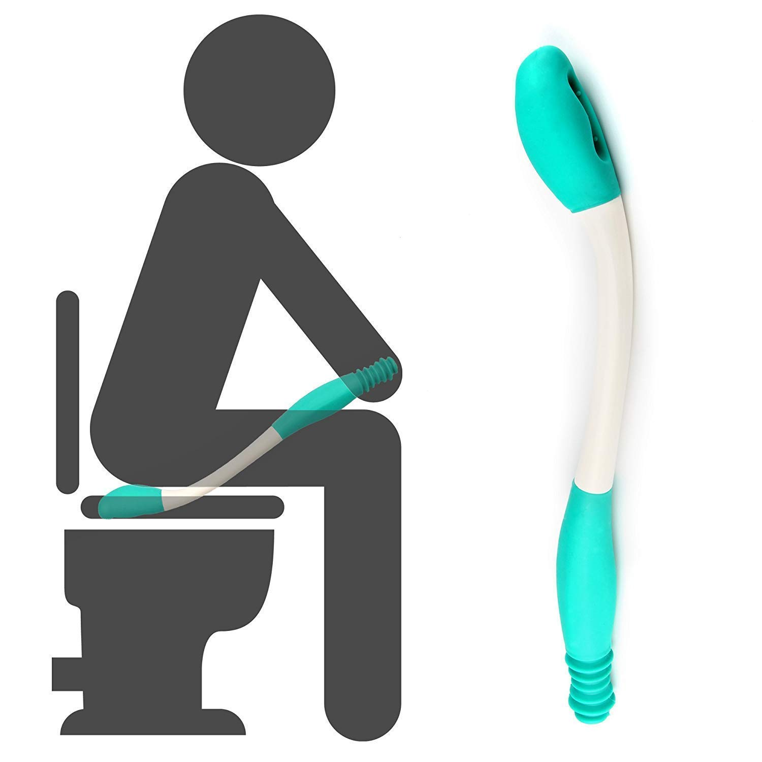 Toilet Aids Tools,Long Reach Comfort Wipe,Extends Your Reach Over 15' Grips Toilet Paper or Pre-Moistened Wipes by HWMY