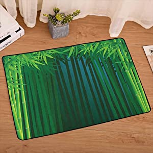 lacencn Exotic Decorative Floor Mat Stems with Leaves Exotic Lands Fantasy Zen Garden Ecology Theme Rug Strong and Durable for Baby Nursery Decor, W29 x L39 Apple Green Dark Green Blue