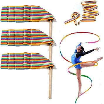 5 Bleu Danse Ruban 4 M Gymnastic Streamer chinois Baton Twirling exercice Parti