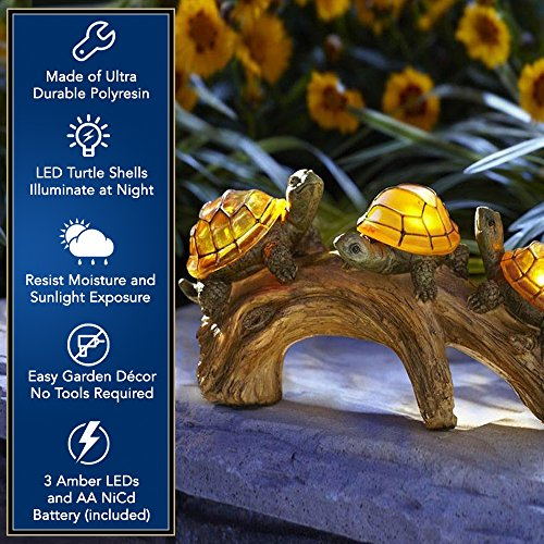 Moonrays 91515 Solar-Powered Outdoor LED Light Garden Décor, Beautifully Painted Polyresin Turtles on a Log, 3 Amber LEDs And 1 AA NiCd Rechargeable Battery (Included)