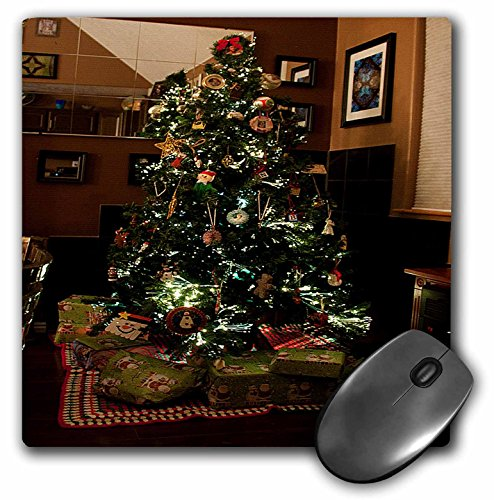 3dRose Jos Fauxtographee Christmas - Christmas Tree With Presents Wrapped Below It and Mirror and Black Tiles Behind on Hard Wood Floors - MousePad (mp_50532_1)