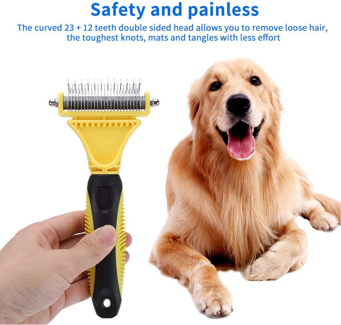 Dog Combs for Grooming Dog Dematting Comb Tool Pet Dog Grooming Comb Brush- Removes Easy Knots Mats and Tangled Hair Dog Comb 23+12 Double Sided Teeth Blade Dog Undercoat Rake Comb