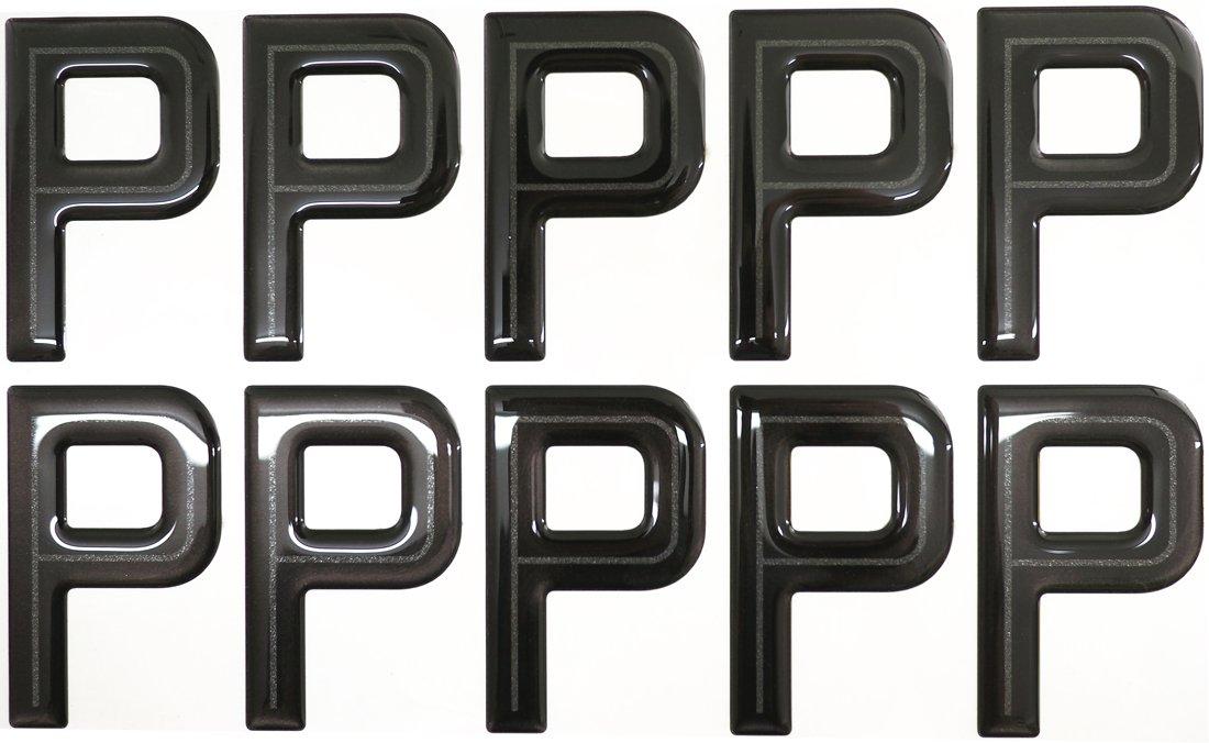 SET OF 10 Highline Gel Domed Self Adhesive Number Plate Digit P