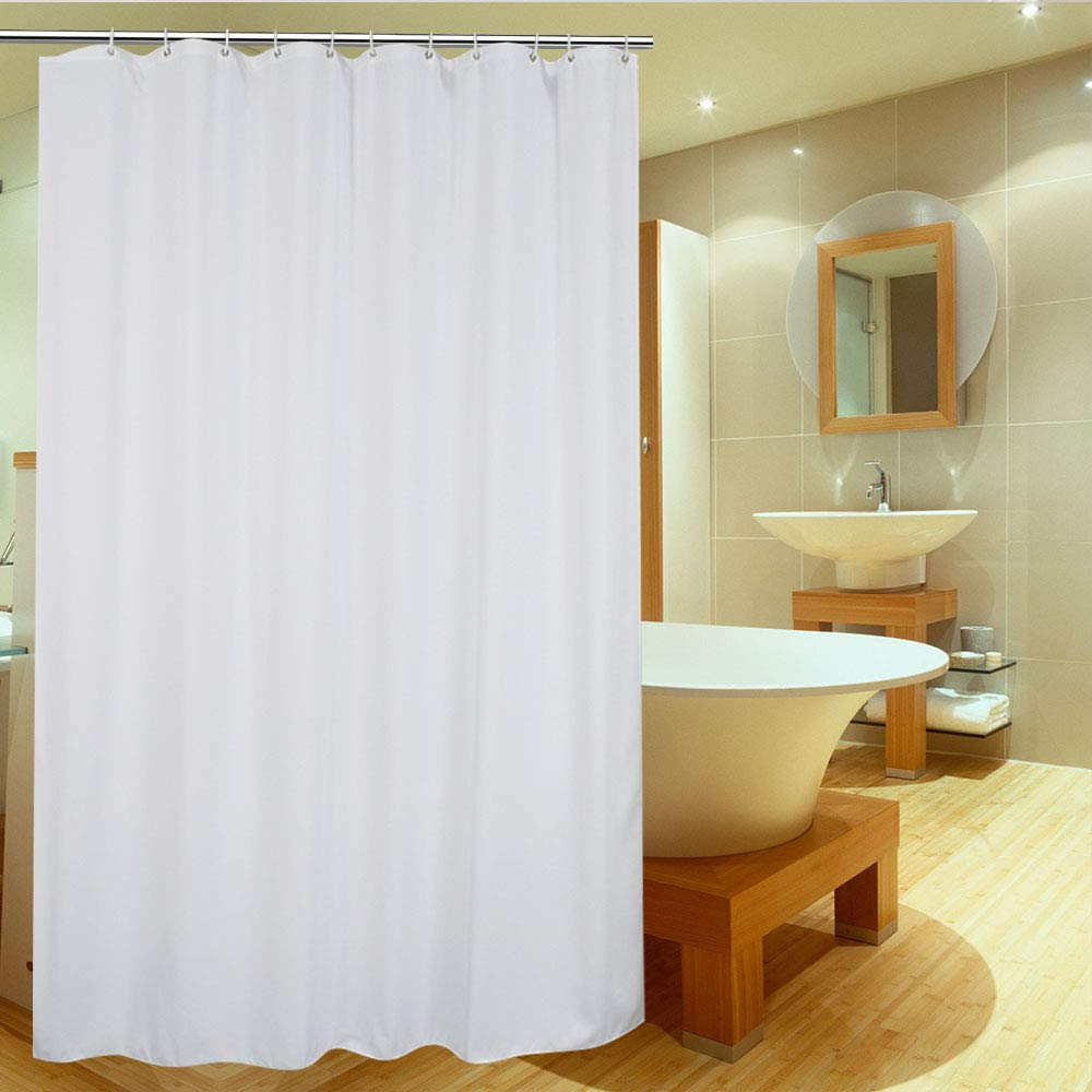 UFRIDAY White Shower Curtain Liner 75 Inch Long, Fabric Shower Curtain with Metal Grommets, Elegant Bathroom Curtain for Home/Hotel, 72 x 75 inches