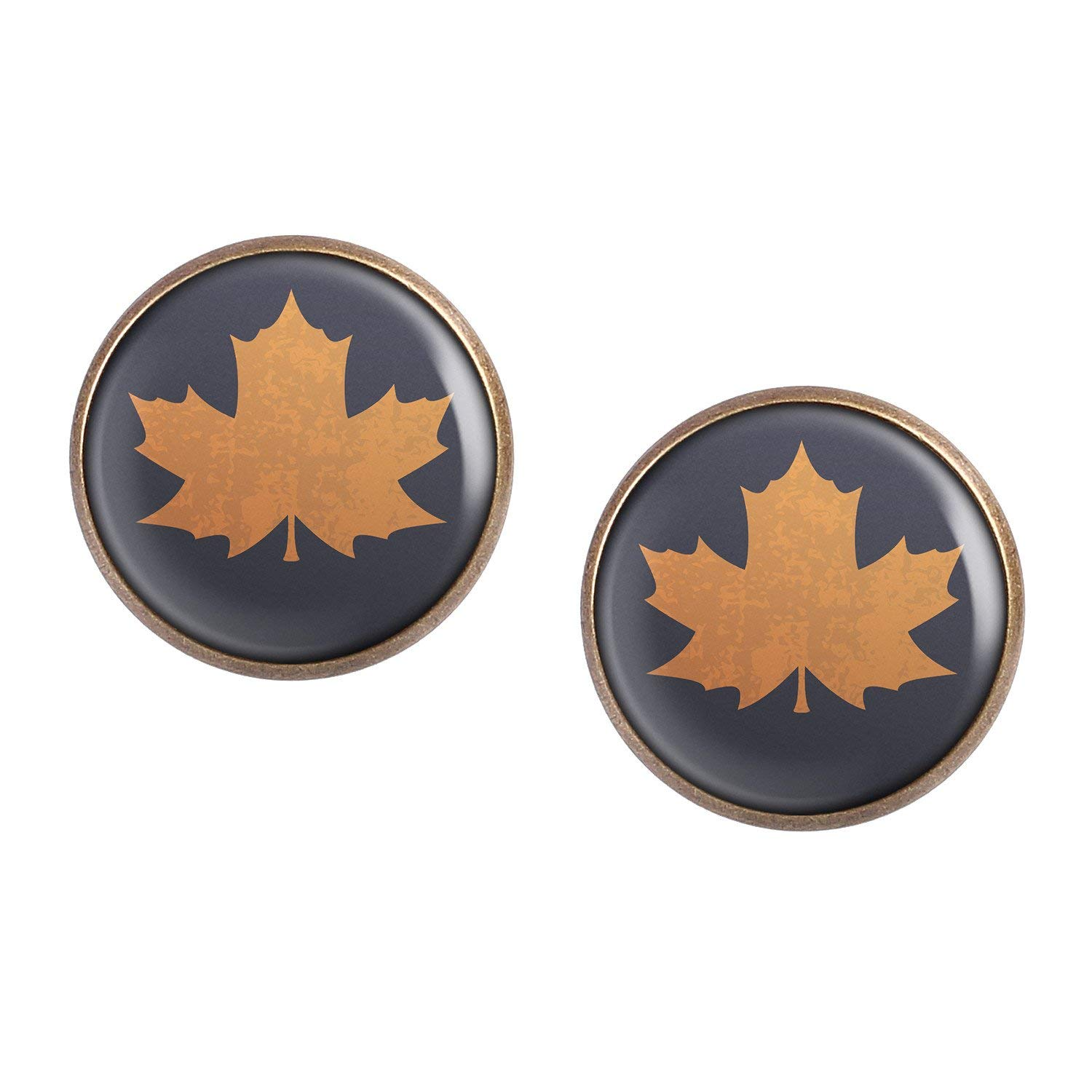 3 bronze different sizes Stud Earring Pair with Cabochon Picture Autumn Leaves Journal