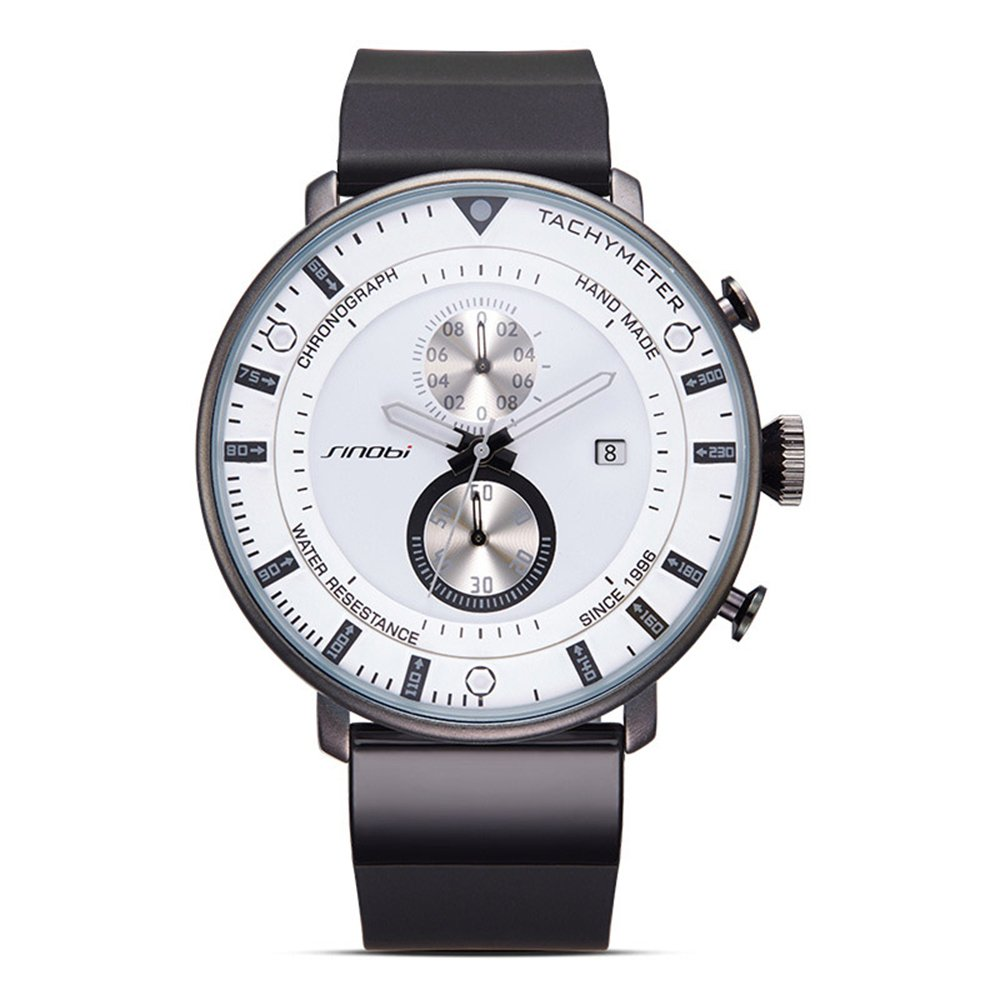 BOFUTE Men's Chronograph Sports Military Wristwatch with Silicone Band Calendar Display(White)