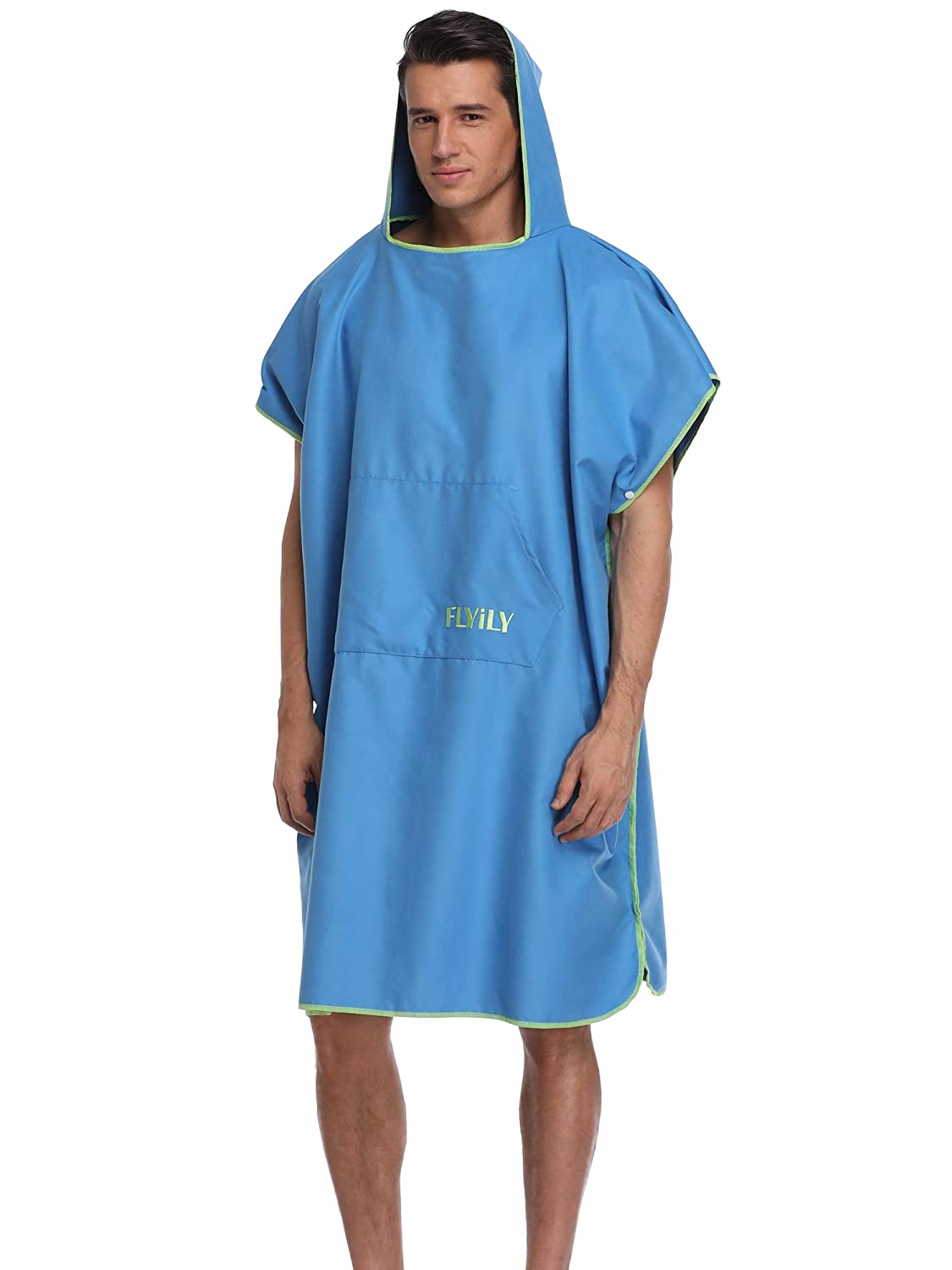 7866748e90 FLYILY Hooded Changing Robe Towel Poncho Light Weight Microfiber Surf  Wetsuit Changing with Pocket Beach Surfing Swimming Robe  Amazon.co.uk   Sports   ...