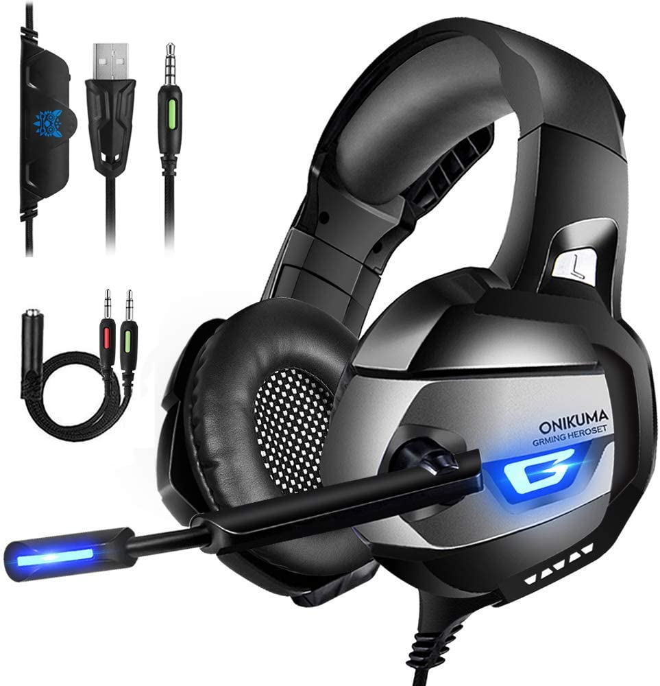 ONIKUMA Gaming Headset III – Xbox One Headphones with Updated 7.1 Surround Sound Stereo for PS4, Xbox One, PC, Mac, PS4 Headset with Noise Cancelling Mic LED Light, Mute Volume Control