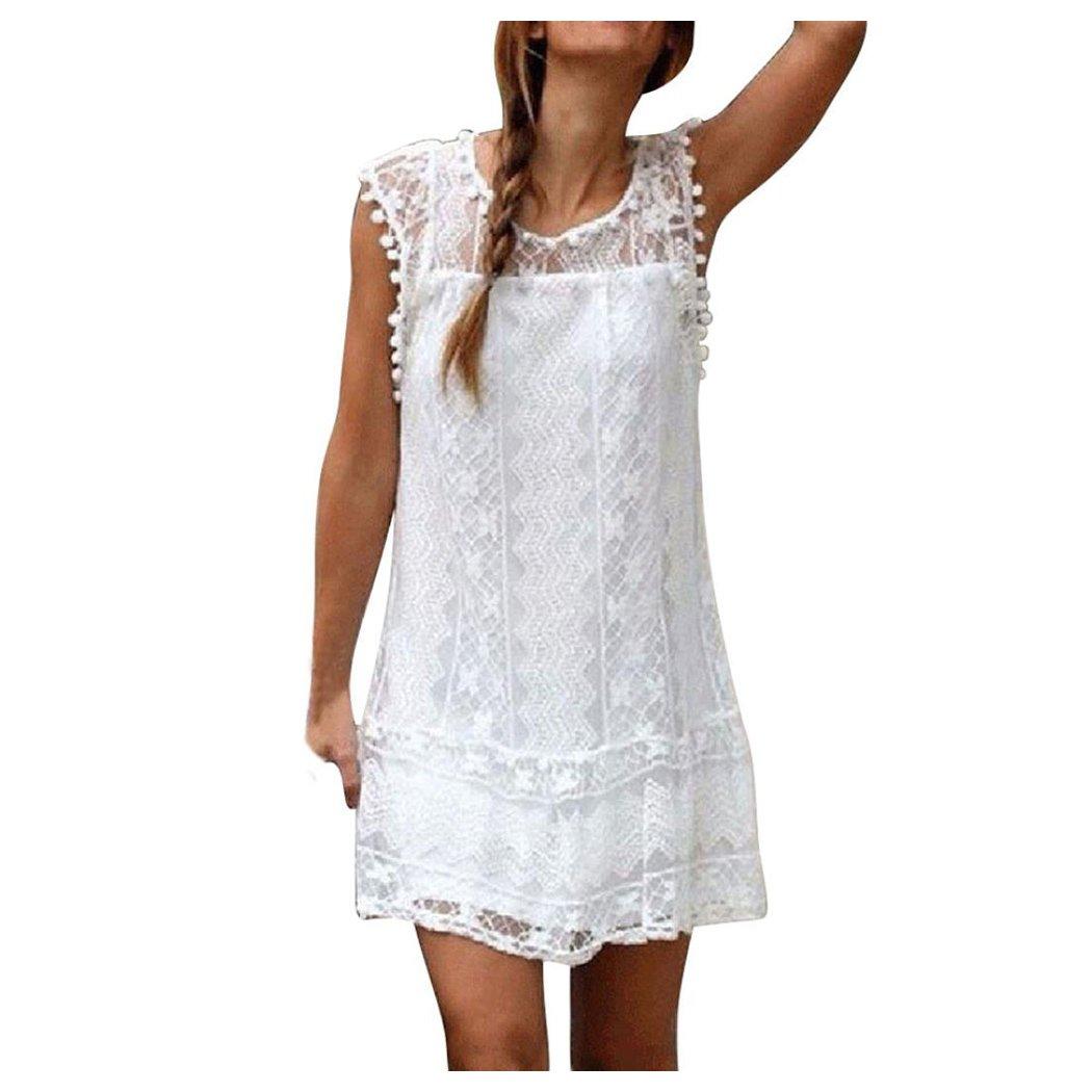d9dde2f053 Amazon.com: Inkach Women Summer Dresses - Casual Lace Sleeveless Tassel  Short Mini Dress Tank Top Beach Dress (XL, White): Baby