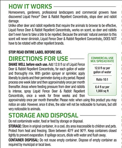 Liquid Fence HG-70111 Deer & Rabbit Concentrate Repellent, 1 gallon by Liquid Fence (Image #2)