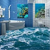 Mznm Custom 3D Floor Mural Wallpaper Sea Water Wave Bathroom 3D Floor Mural Pvc Waterproof Self-Adhesive Vinyl Wallpaper Home Decor-200X140Cm
