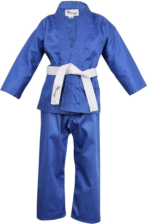 Norman Azul Infantil Traje de Karate Cintur/ón Blanco Gratis Ni/ño Traje de Karate