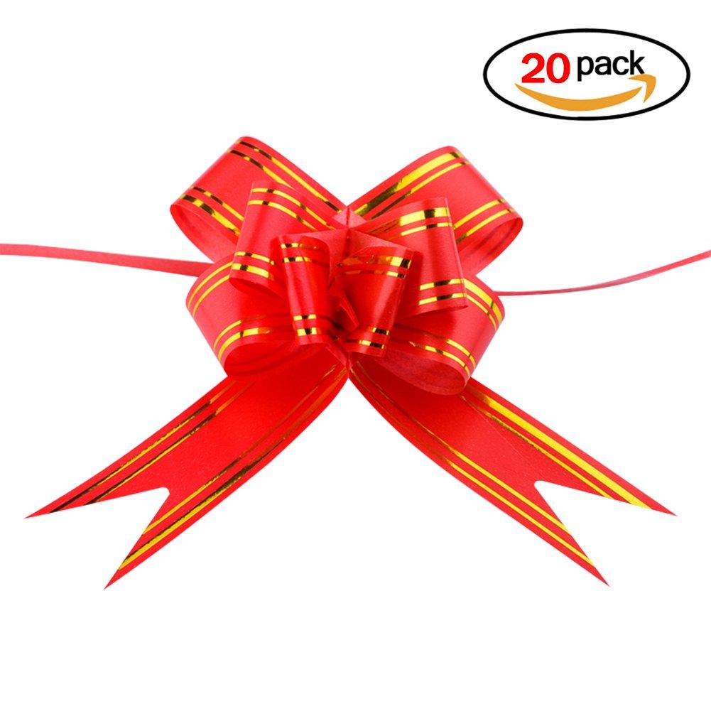 20pcs Fiocchi a trarre Pull Bow doîte Confezione Bouquet di fiori composizioni floreali fiore artificiale per decorazione casa festa auto regalo di matrimonio cestini Natale blu Naisidier