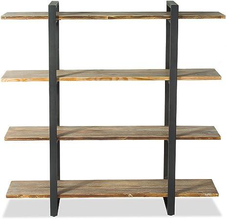 topower Industrial 4 Tier estanterías y Libro estantes Vintage Metal y Madera estanterías Mueble con 4 Ruedas: Amazon.es: Hogar