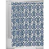 InterDesign Damask Shower Curtain, Long 72 x 84, Navy Blue