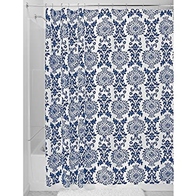 "iDesign Damask Fabric Shower Curtain for Master, Guest, Kids', College Dorm Bathroom, 72"" x 72"" - Navy Blue and White - FABRIC SHOWER CURTAIN: High-quality wrinkle resistant 100% polyester navy blue and white fabric gives your shower stall a sleek look. Great for master bathroom, guest bathroom, child's bathroom, or basement bathroom STYLISH: Navy blue and white color scheme and decorative French-inspired print looks great with any decor RUST-RESISTANT METAL GROMMETS: 12 rust-resistant metal grommets and a reinforced top header are suitable for S hooks, shower rings, and other shower curtain hooks for easy hanging - shower-curtains, bathroom-linens, bathroom - 61lELcIQOBL. SS400  -"