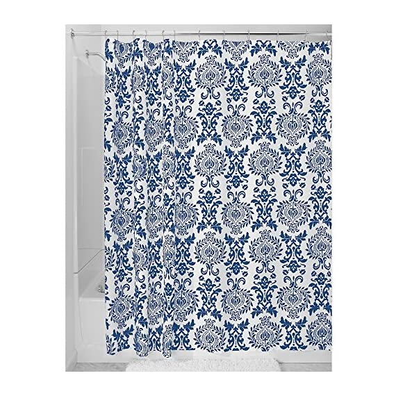 """iDesign Damask Fabric Shower Curtain for Master, Guest, Kids', College Dorm Bathroom, 72"""" x 72"""" - Navy Blue and White - FABRIC SHOWER CURTAIN: High-quality wrinkle resistant 100% polyester navy blue and white fabric gives your shower stall a sleek look. Great for master bathroom, guest bathroom, child's bathroom, or basement bathroom STYLISH: Navy blue and white color scheme and decorative French-inspired print looks great with any decor RUST-RESISTANT METAL GROMMETS: 12 rust-resistant metal grommets and a reinforced top header are suitable for S hooks, shower rings, and other shower curtain hooks for easy hanging - shower-curtains, bathroom-linens, bathroom - 61lELcIQOBL. SS570  -"""