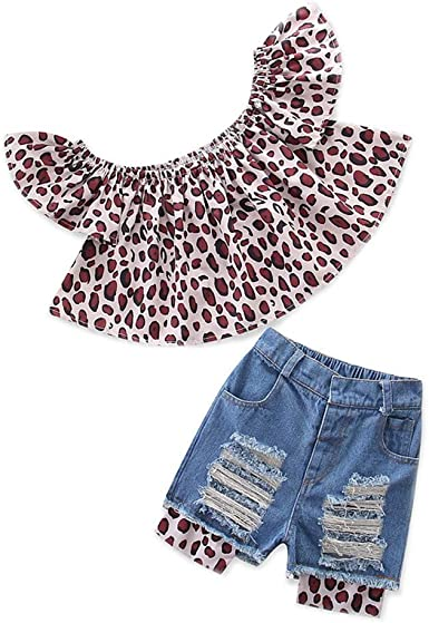 Leopard Toddler Kids Girls Glasses Cat Sleeveless Tops Pants Outfits Clothes Set