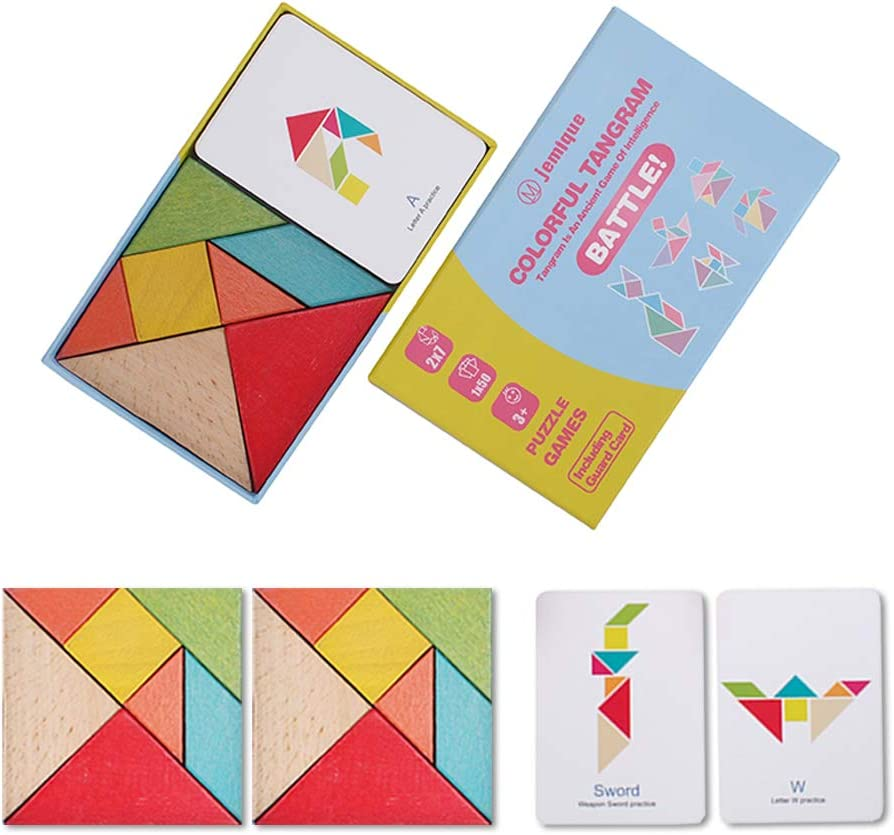 JEMIQUE 2 Value Sets Wooden Tangrams Jigsaw Puzzles Toy Geometry Game for Childrens 3+Educational Toys JMQ-CT7