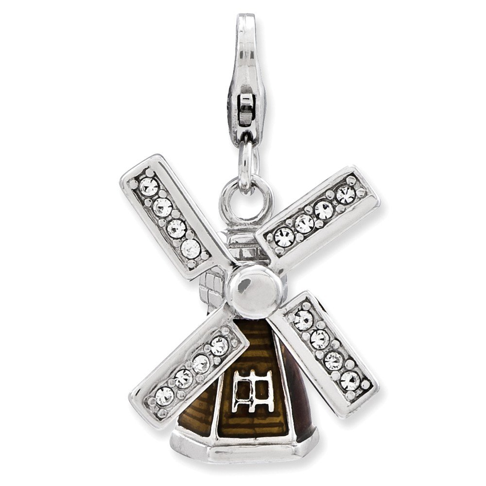 Sterling Silver Enameled 3-D Windmill w//Lobster Clasp Charm