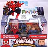 Minimates Marvel Ultimate Spider-Man Web Warriors Half Masked Spider-Man and Agent Coulson Minifugres