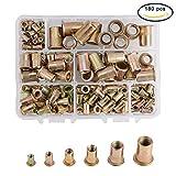 INCREWAY 180Pcs Zinc Plated Carbon Steel Flat Head Rivet Nut Threaded Rivetnut Insert Nutsert Assortment Kit - M3 M4 M5 M6 M8 M10