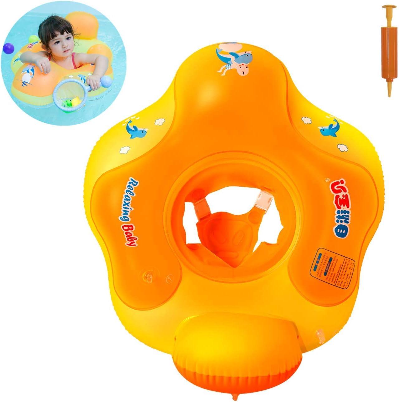 Myir Flotador bebé con Asiento y Respaldo, Anillo de Natación para bebés de Piscina Flotador Inflable para Niños Flotador de Natación Nadar Anillo (Naranja, S)