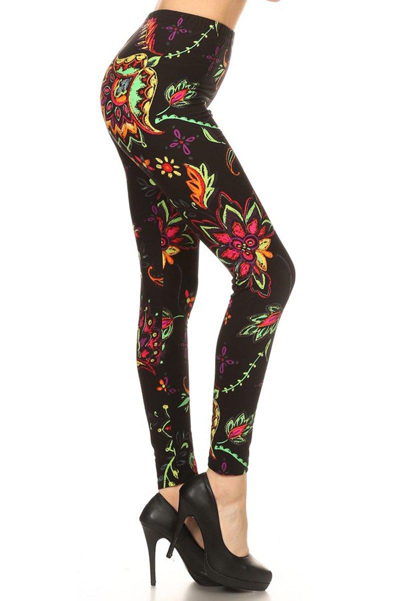 Print Leggings Neon Floral Chalkart (R735-OS)