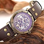Carrie Hughes Men's Steampunk Automatic Watch Skeleton Self-Winding Mechanical Leather Brown CH168 (CH168) 7