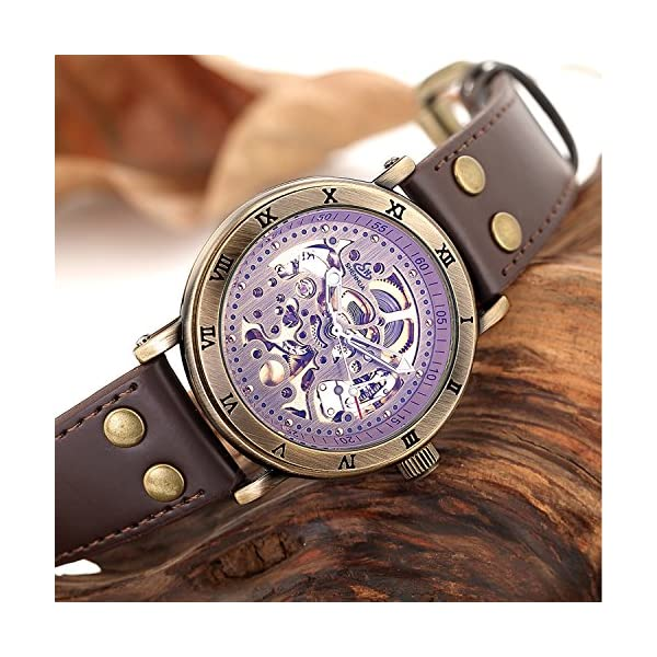 Carrie Hughes Men's Steampunk Automatic Watch Skeleton Self-Winding Mechanical Leather Brown CH168 (CH168) 4