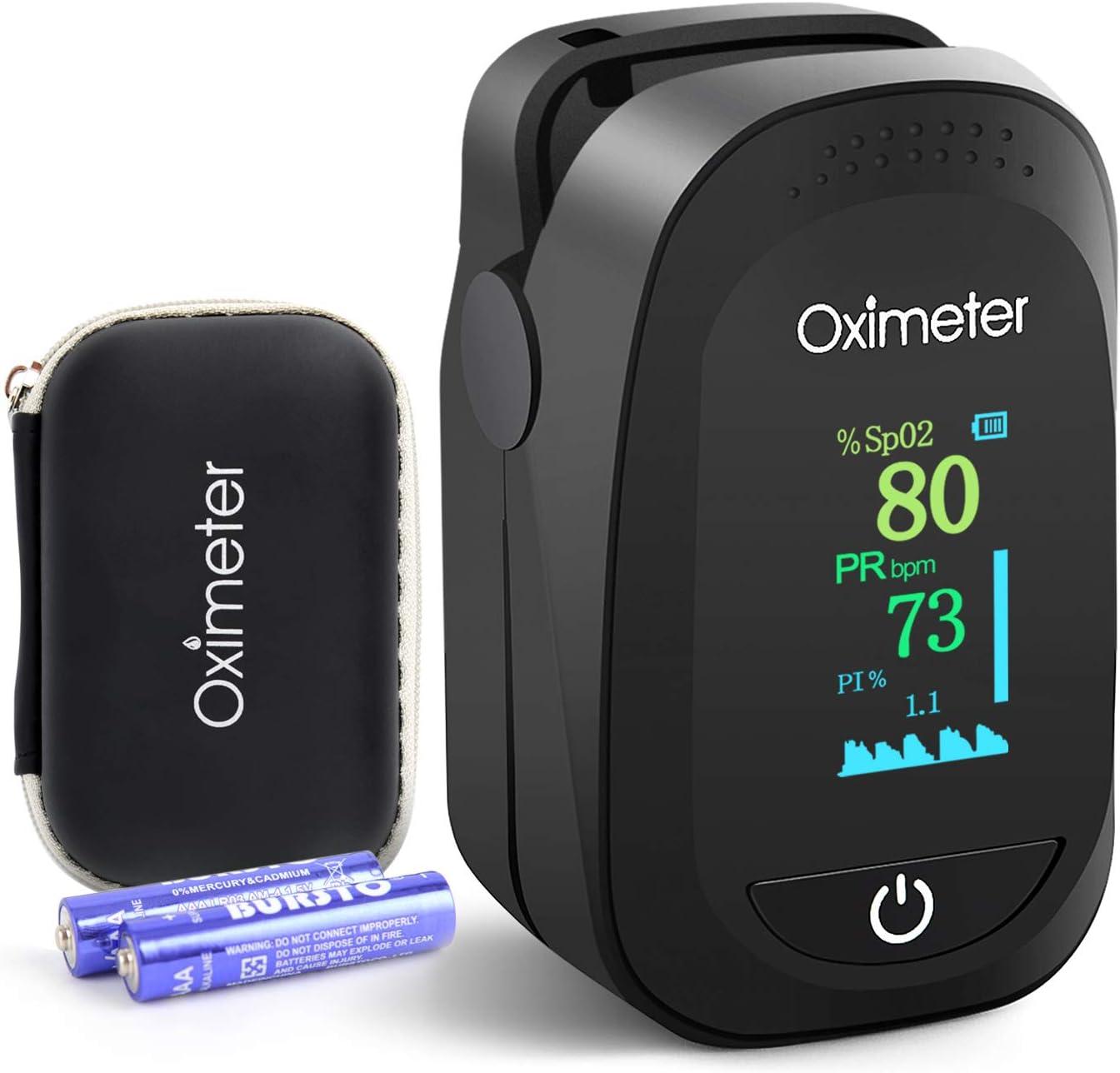 Pulsioxímetro, Oxímetro Portátil de Dedo, Monitor de Ritmo Cardíaco, Monitor de Saturación de Oxígeno con Pantalla OLED Omnidireccional (incluye pilas y cordón)
